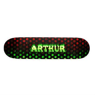Arthur skateboard green fire and flames design