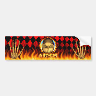 Arthur skull real fire and flames bumper sticker d