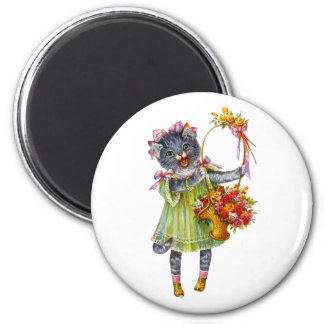 Arthur Theile Kitty Cat with Flower Basket 2 Inch Round Magnet