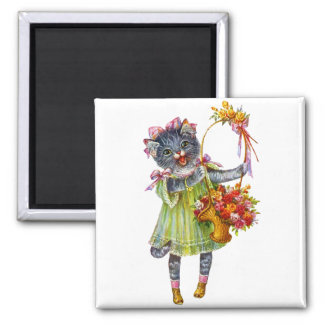 Arthur Theile Kitty Cat with Flower Basket 2 Inch Square Magnet