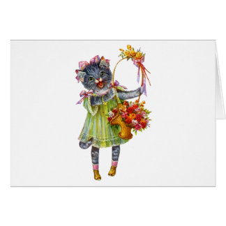 Arthur Theile Kitty Cat with Flower Basket Card