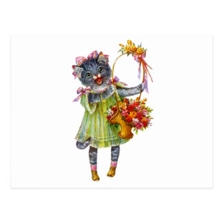 Arthur Theile Kitty Cat with Flower Basket Postcard