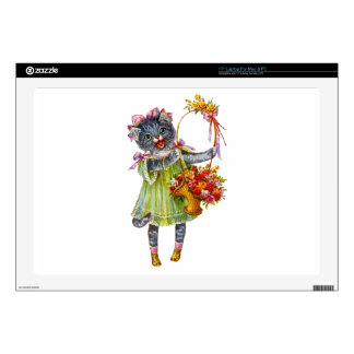 """Arthur Theile Kitty Cat with Flower Basket Skins For 17"""" Laptops"""