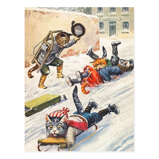 Arthur Thiele - Bobsledding Anthropomorphic Cats Post Cards