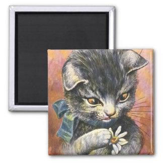 Arthur Thiele - Cat in Love 2 Inch Square Magnet