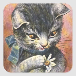 Arthur Thiele - Cat in Love Square Sticker