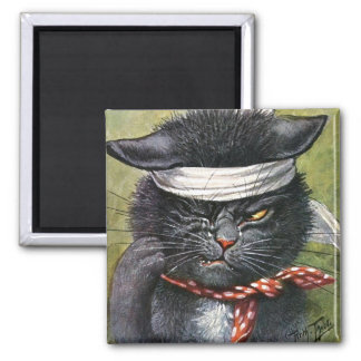Arthur Thiele - Cat with Toothaches 2 Inch Square Magnet