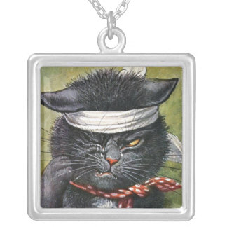 Arthur Thiele - Cat with Toothaches Silver Plated Necklace