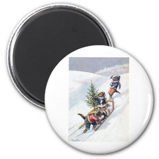 Arthur Thiele - Cats Bring home a Christmas Tree 2 Inch Round Magnet