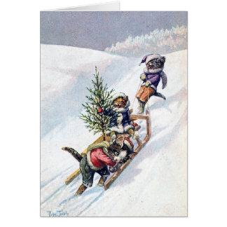 Arthur Thiele - Cats Bring home a Christmas Tree Card