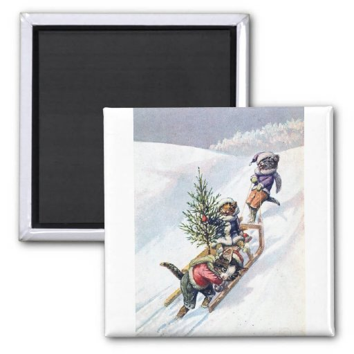 Arthur Thiele - Cats Bring home a Christmas Tree 2 Inch Square Magnet
