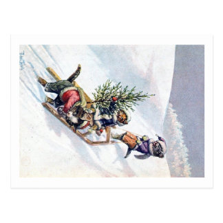 Arthur Thiele - Cats Bring home a Christmas Tree Postcard