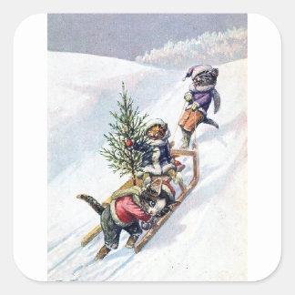 Arthur Thiele - Cats Bring home a Christmas Tree Square Sticker