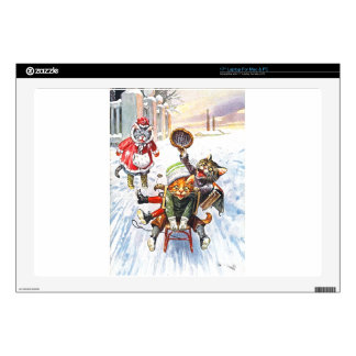 """Arthur Thiele - Cats Going Downhill Snow Sledding Decal For 17"""" Laptop"""