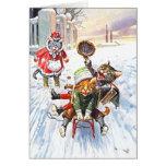 Arthur Thiele - Cats Going Downhill Snow Sledding Greeting Card