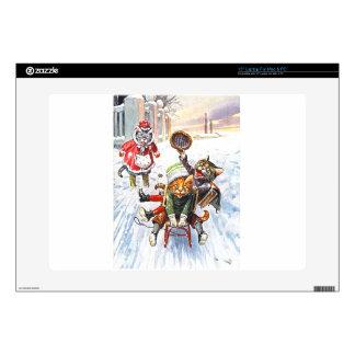 Arthur Thiele - Cats Going Downhill Snow Sledding Laptop Decal