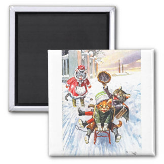 Arthur Thiele - Cats Going Downhill Snow Sledding Refrigerator Magnets