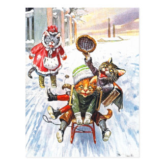 Arthur Thiele - Cats Going Downhill Snow Sledding Postcard