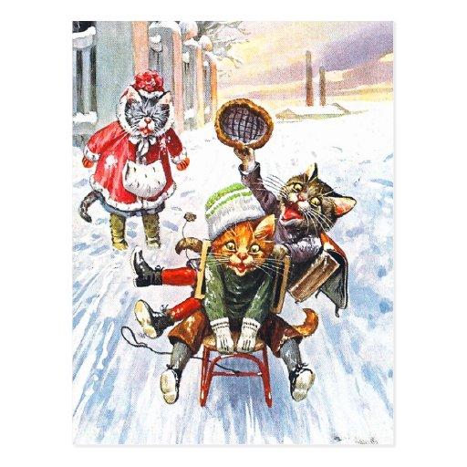 Arthur Thiele - Cats Going Downhill Snow Sledding Postcard
