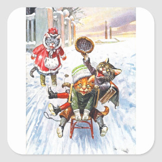 Arthur Thiele - Cats Going Downhill Snow Sledding Square Sticker