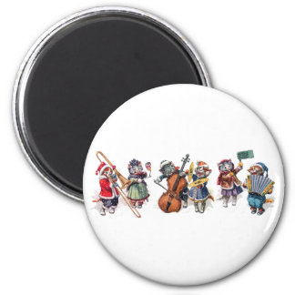 Arthur Thiele -  Cats Play Orchestra in the Snow. 2 Inch Round Magnet