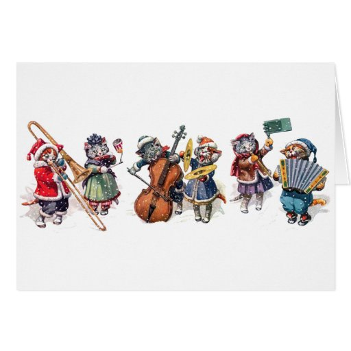 Arthur Thiele -  Cats Play Orchestra in the Snow. Greeting Cards