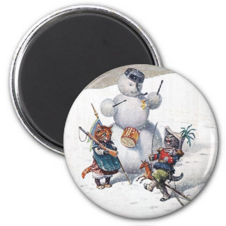 Arthur Thiele - Cats Play with the Snowman 2 Inch Round Magnet