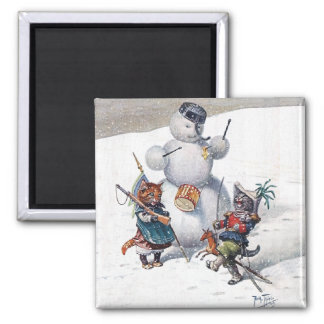Arthur Thiele - Cats Play with the Snowman 2 Inch Square Magnet