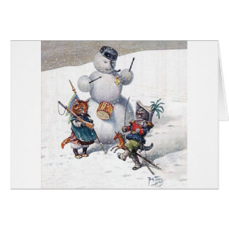 Arthur Thiele - Cats Play with the Snowman Greeting Card