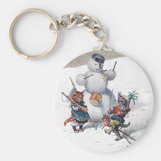 Arthur Thiele - Cats Play with the Snowman Keychain
