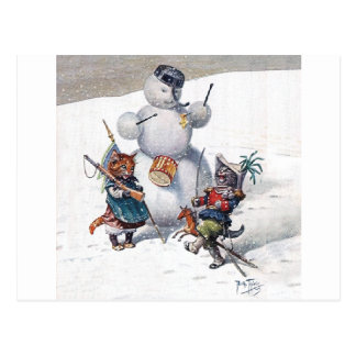 Arthur Thiele - Cats Play with the Snowman Postcards