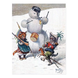 Arthur Thiele - Cats Play with the Snowman Postcard