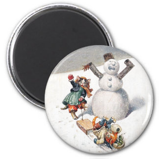 Arthur Thiele Cats Playing in the Snow 2 Inch Round Magnet