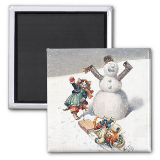 Arthur Thiele Cats Playing in the Snow 2 Inch Square Magnet