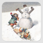 Arthur Thiele Cats Playing in the Snow Square Sticker