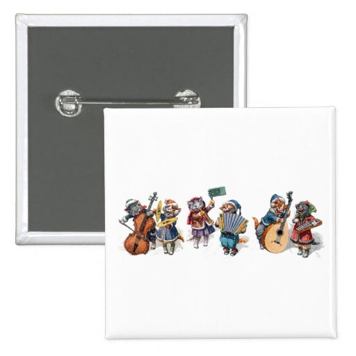 Arthur Thiele - Cats Playing Musical Instruments 2 Inch Square Button