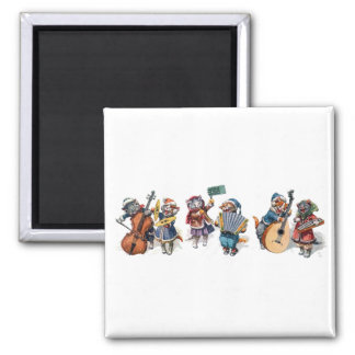 Arthur Thiele - Cats Playing Musical Instruments 2 Inch Square Magnet