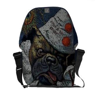 Arthur Thiele: Dog in Clown Suit - Knitting Effect Messenger Bag