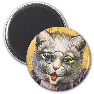 Arthur Thiele - Female Cat with Glasses 2 Inch Round Magnet