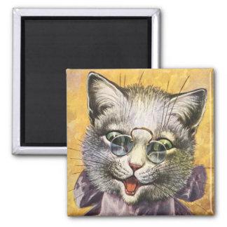 Arthur Thiele - Female Cat with Glasses 2 Inch Square Magnet