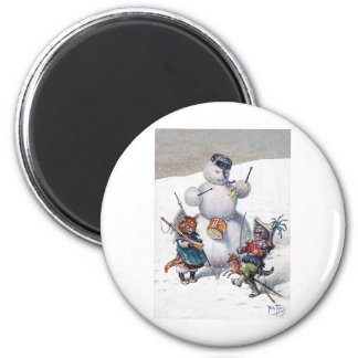 Arthur Thiele - Kittens and the Snowman 2 Inch Round Magnet