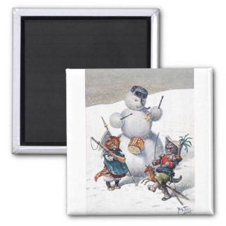 Arthur Thiele - Kittens and the Snowman 2 Inch Square Magnet