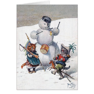 Arthur Thiele - Kittens and the Snowman Greeting Cards