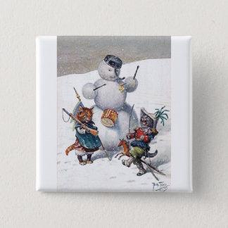 Arthur Thiele - Kittens and the Snowman Pinback Button