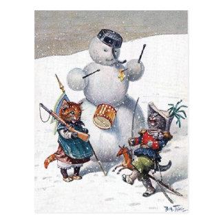 Arthur Thiele - Kittens and the Snowman Postcard