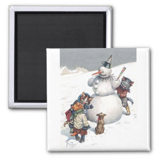 Arthur Thiele - Kittens Play Hide and Seek 2 Inch Square Magnet