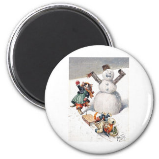 Arthur Thiele - Kittens Take a Tumble in the Snow 2 Inch Round Magnet