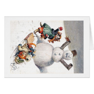 Arthur Thiele - Kittens Take a Tumble in the Snow Greeting Cards