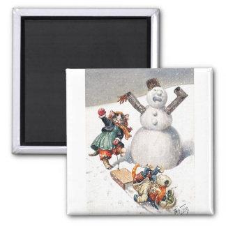 Arthur Thiele - Kittens Take a Tumble in the Snow Fridge Magnets