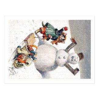 Arthur Thiele - Kittens Take a Tumble in the Snow Postcard